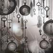 Vintage black and white background for time concept with watches, feathers and keys. — Векторная иллюстрация
