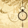 Vintage grungy background with pocket watches on chain — Vector de stock