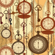 Vintage sepia seamless pattern with watches, feathers and keys — Imagens vectoriais em stock