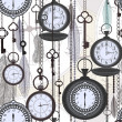 Vintage seamless pattern with watches, feathers and keys - Imagen vectorial