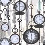 复古无缝模式与手表、 羽毛和钥匙 — 图库矢量图片