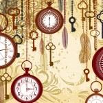 vintage fundo sujo com chaves e relógios — Vetorial Stock