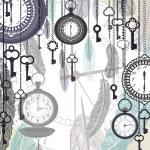de fundo vector vintage com relógios de bolso e penas — Vetorial Stock