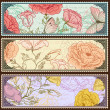 Vintage banners with handdrawn roses — Stock Vector