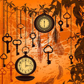 Otoño vintage fondo con relojes, plumas y llaves — Vector de stock