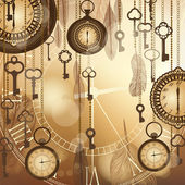 Antique golden background with pocket watches and feathers — 图库矢量图片