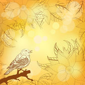 Autumnal yellow background with flowers and bird — Stock Vector