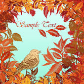 Autumn colorful background with leaves and bird — Stock Vector