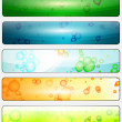 Set of glossy banners with colorful water bubbles — Stock Vector #20303199