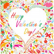 Valentine's card with bright doodle floral pattern — Stock Vector