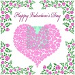 Vintage valentine's card with rose heart - Stock Vector