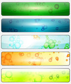 Set of glossy banners with colorful water bubbles — Stock Vector