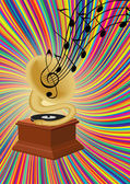 Gramophone playing music on colorful background — Stock Vector