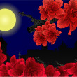 City in moonlight and red flowers — Stock Vector