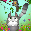 Vector illustration of a cat looking to the bird - Stock Vector