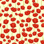 Seamless pattern with poppy flowers — Cтоковый вектор