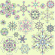 Collection of retro snowflakes — Stock Vector