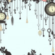 Clock and keys vintage vertical background — Imagen vectorial