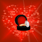 Valentine background with red heart and diamond ring — Stock Vector