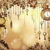 Antique golden background with clocks and keys — Stock Vector