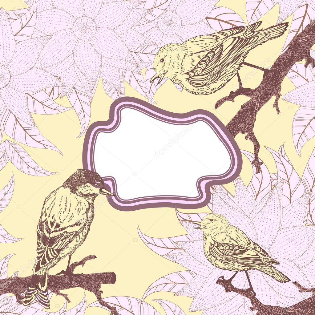 Vintage card with birds and flowers  Stock Vector #20337949