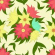 Retro seamless pattern with colorful flowers — Stock Vector