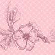 Retro floral card with beautiful flower - Image vectorielle