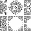 Set of seamless patterns and frames — Stock Vector