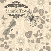 Vector retro background with stylized flowers and insects — Stock Vector