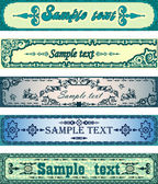 Set of antique blue banners — Stock vektor