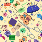 Seamless pattern with sewing stuff — Stock vektor