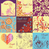 Set of retro floral backgrounds and seamless patterns — Stock Vector