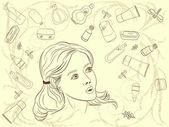 化粧品の束から選択する美しい女の子のベクトル イラスト — ストックベクタ
