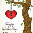 Handdrawn valentine card with tree and heart - Stok Vektör