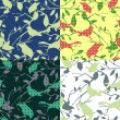 Royalty-Free Stock Vector Image: Set of four seamless patterns with birds and tree branches