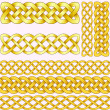 Celtic braids set with seamless patterns for brushes. — Stock Vector