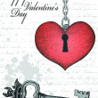 Vintage valentine card with hand-written heart and key — Vettoriali Stock