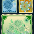 Set of botanical stamps - Stock Vector