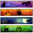 Four Halloween banners — Vector de stock