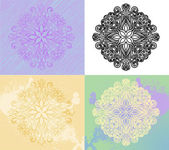 Radial ornament in four styles — Stock Vector