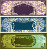 Três bandeiras coloridas horizontais com ornamento clássico — Vetorial Stock