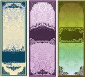 经典饰品三个垂直彩色横幅 — 图库矢量图片