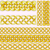 Celtic braids set with seamless patterns for brushes. — 图库矢量图片