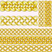 Keltische vlechten instellen met naadloze patronen voor penselen. — Stockvector