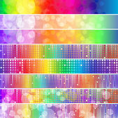 Set of spectrum banners with blurry lights and mosaic — Stock Vector