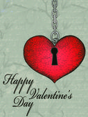 Vintage valentine card with hand-written heart and key — Stock Vector