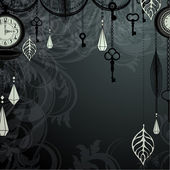 Vintage dark background with antique clocks and keys — Stock Vector