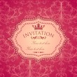 Vector vintage invitation with seamless damask pattern — Stock Vector