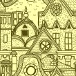 Royalty-Free Stock Vector: Hand-drawn seamless pattern with old town