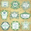 Royalty-Free Stock Vectorafbeeldingen: Vector set of green and blue calligraphic design frames